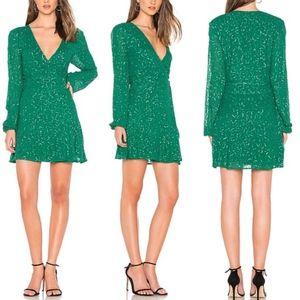 NWT Show Me Your Mumu Green Sequin Wrap Mini Dress